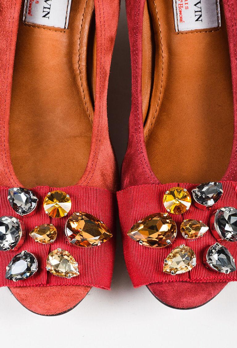 "Lanvin NIB ""Raisin"" Red Suede Crystal Embellished Cube Heel Ballerina Pump SZ 36"