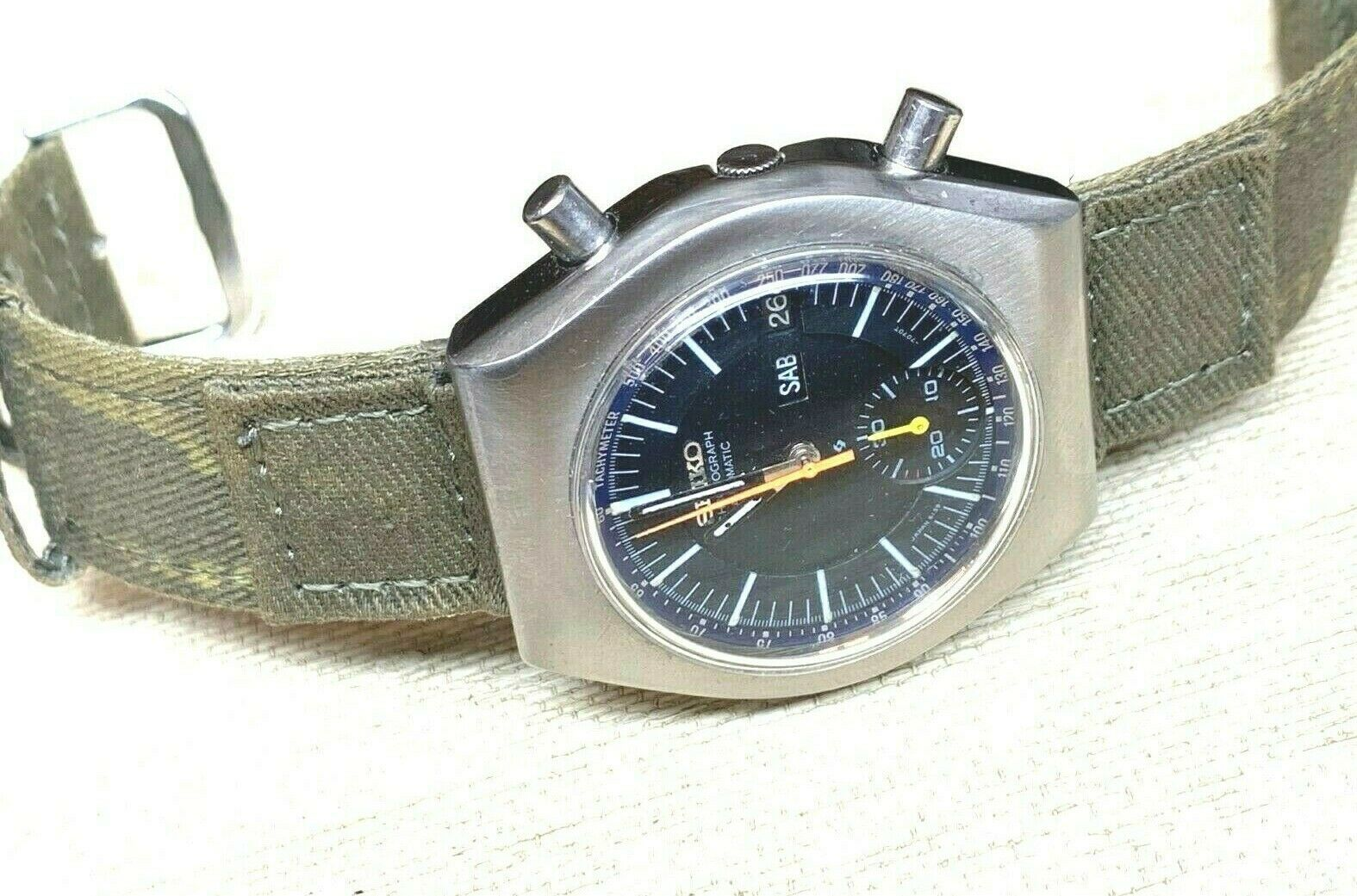 SEIKO VINTAGE 6139-7002 AUTOMATIC CHRONOGRAPH COMPLETE SERVICED sports band