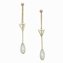 14 Karat Gold Plated Lariat Style Earrings with Chalcedony Drop - $37.97