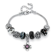 PalmBeach Jewelry Black and Purple Crystal Silvertone Bali-Style Charm Bracelet - $14.39