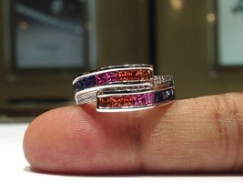 2.00 Carat Rainbow Sapphire Ring set in 925 Sterling Silver WATCH VIDEO