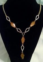 Nwt $38 Jessica Simpson Brown Gold Rhinestone Designer Necklace - $19.99