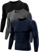 Neleus Men's 3 Pack Athletic Compression Long Sleeve Shirt,008,Black,Grey,Navy B