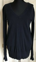 J. Crew Navy Blue Long Sleeve V Neck Sweater 100% Cotton Women's S - $9.89