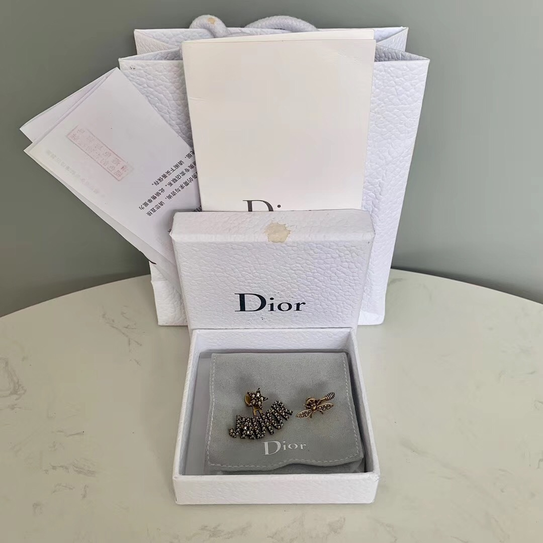 AUTHENTIC Christian Dior J'ADIOR Bee Wasp Gold Asymmetrical EARRINGS RECEIPT