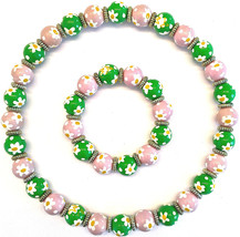 "NWT ANGELA MOORE ""DAISY DAISY"" NECKLACE & BRACELET PINK & GREEN W/ WHITE... - $79.19"