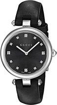 Gucci  YA141403 Black Dial Leather Strap Ladies Watch - $639.99