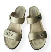 Mephisto Sandals Womens 39 Slip On Wedge Cork Gold Summer Casual - $57.11