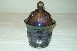 IMPERIAL GLASS COVERED DISH/BOWL CARNIVAL SMOKEY BLUE - $38.53
