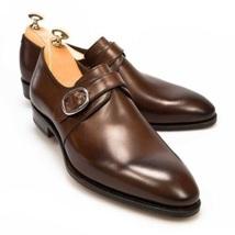 Handmade Men Dark Brown Monk Strap Buckle Shoes image 6