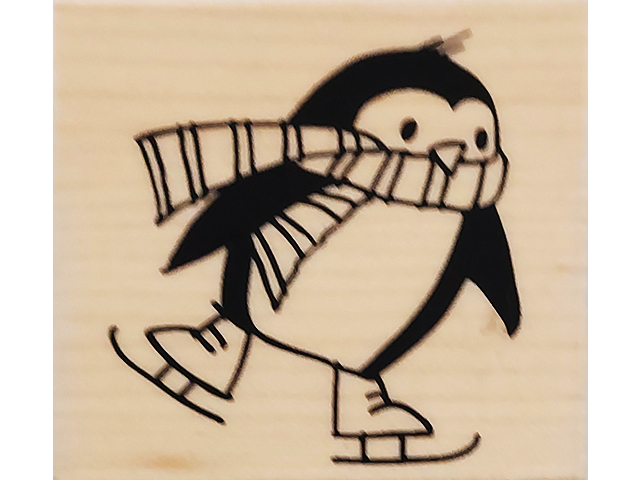 Stampendous 2010 Skating Penguin Wood Mounted Rubber Stamp #F208