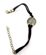 VINTAGE HAND WOVEN ROPE CHAIN LEATHER BRACELET METAL TREE 8 1/2 INCHES - $4.95