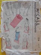 Vtg 1944 McCall Vestees Mock Blouse Fronts Sewing Pattern 1114 One Size - $13.99