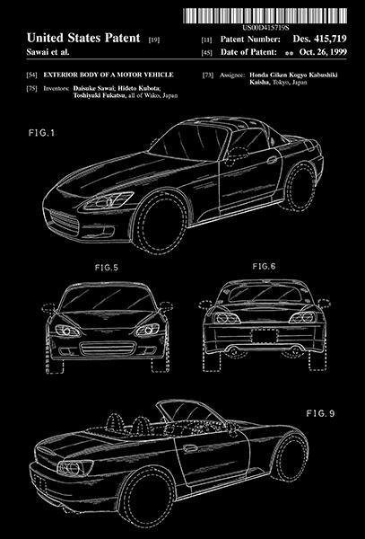 Primary image for 1999 - Honda S2000 Design - Motor Vehicle - D. Sawai - Patent Art Poster