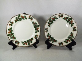 "Pair of Queens Rosina Yuletide 8 1/4"" Salad Plates Holly Berries Gold Sc... - $22.95"