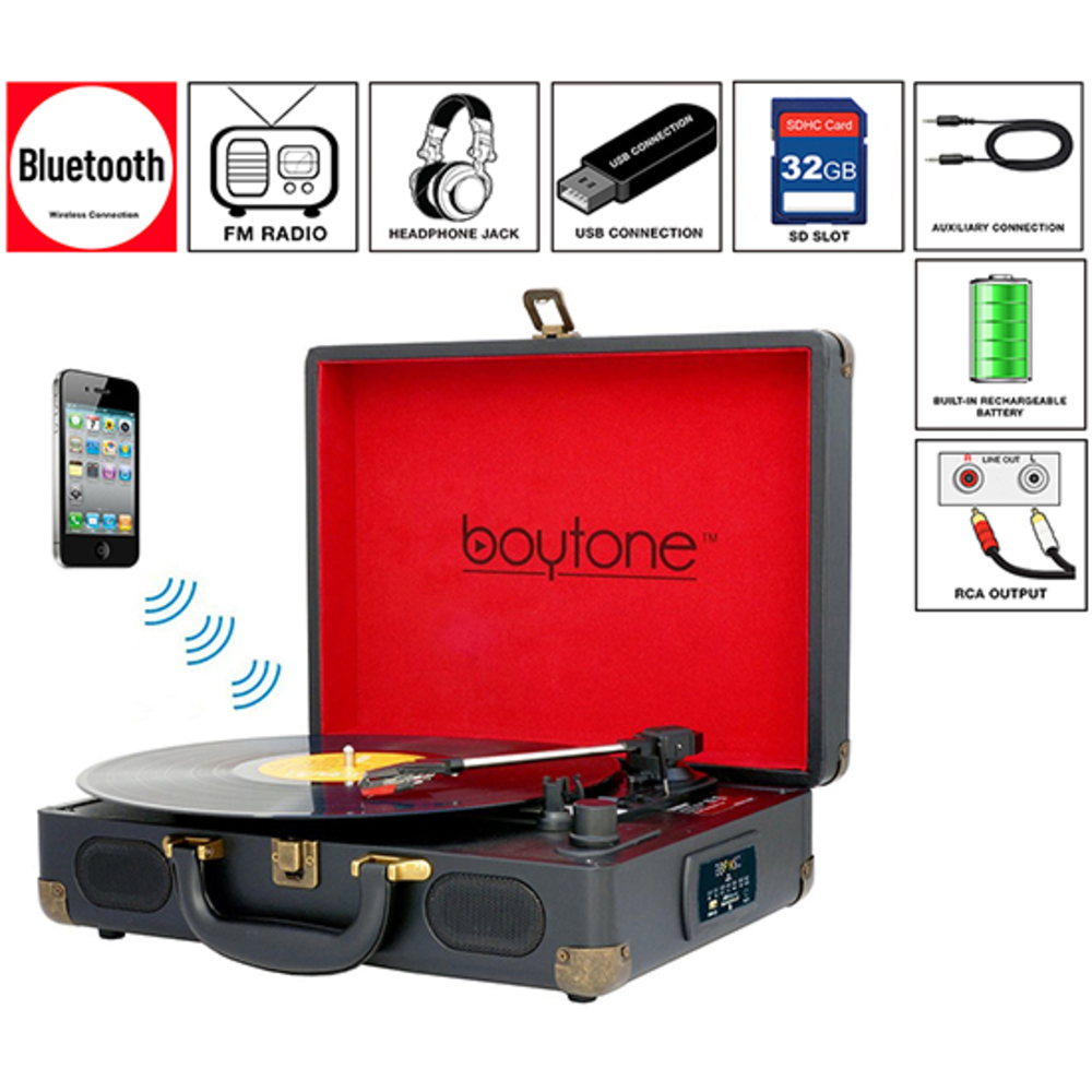 Boytone BT-101B Bluetooth Turntable Briefcase Record player AC-DC, Built in Rech