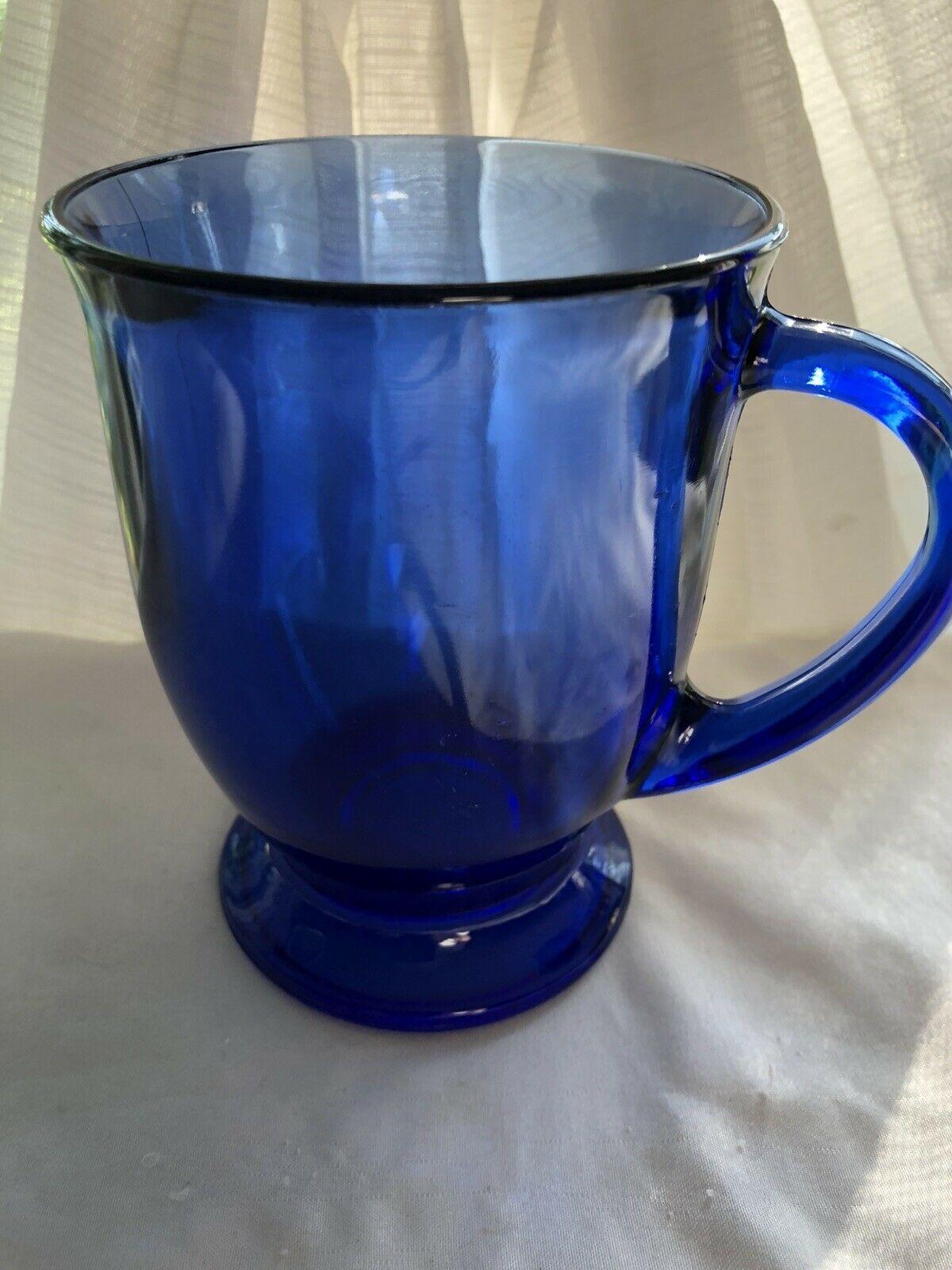 Cobalt Blue Anchor Hocking Glass Handled Mug 12 oz - $12.99