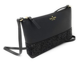 Kate Spade Ramey Greta Court Glitter Saffiano Leather Crossbody Bag Black - $130.06