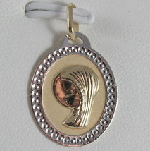 SOLID 18K WHITE YELLOW GOLD MEDAL VIRGIN MARIA MADONNA ENGRAVABLE, MADE IN ITALY image 2