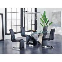 Global Furniture D987DT W/D6671-BL Glass Top Table & Black PU Chair Dining Set 5
