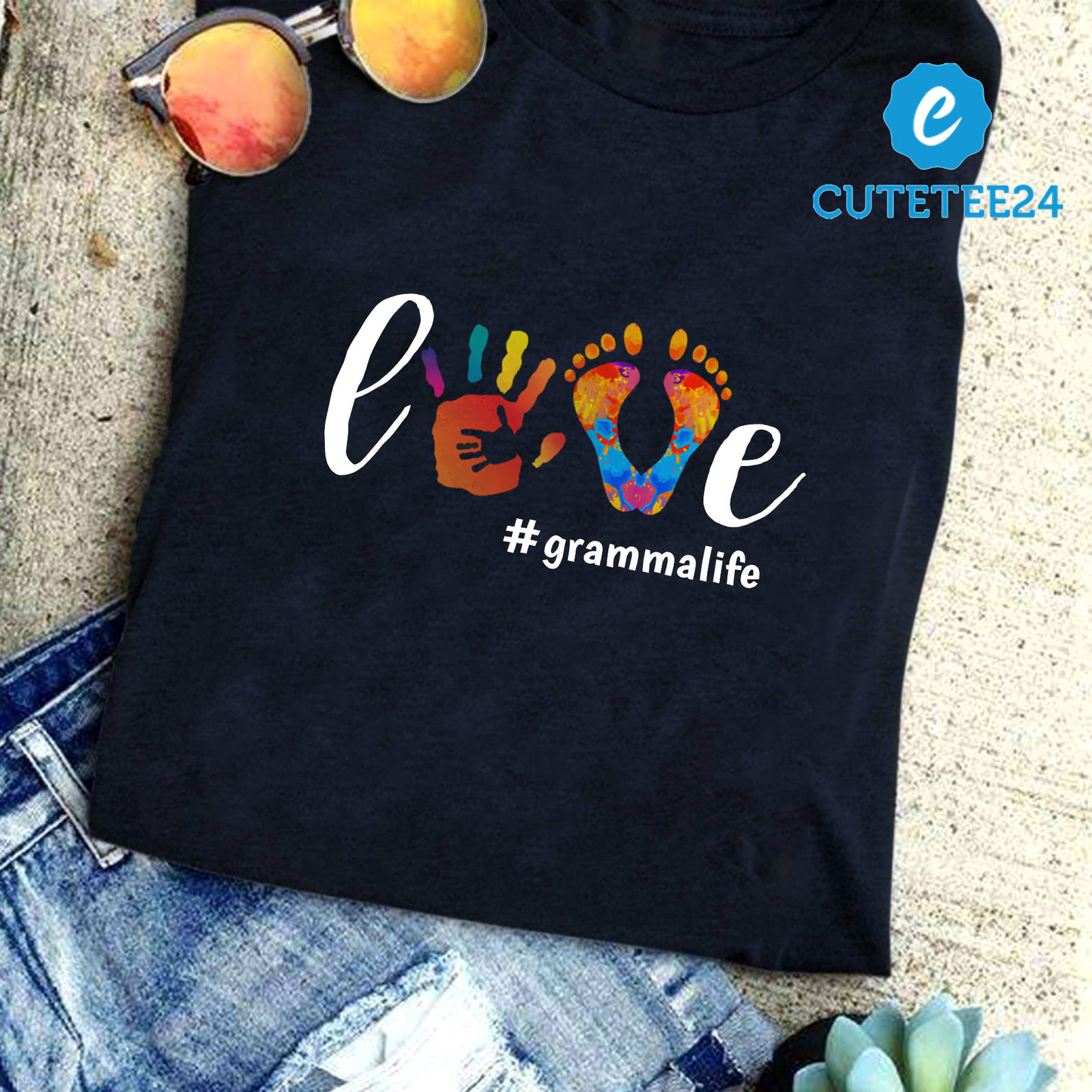 Primary image for Love Gramma Life Cute Watercolor Shirt, Cute Gift For Gramma, Grandma. Nana