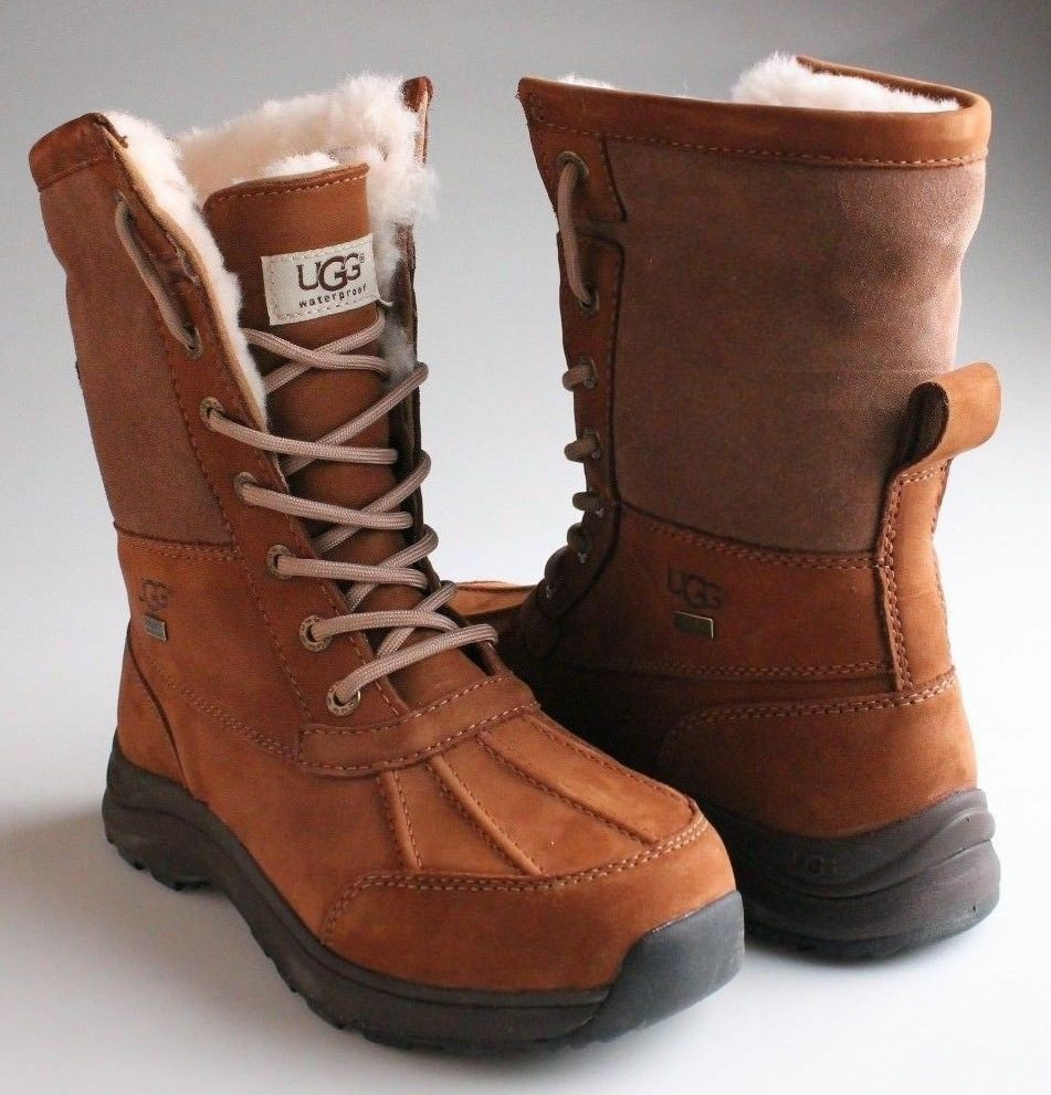 UGG Womens Chestnut Brown Leather Adirondack III Winter Snow Boots 1017430 NIB