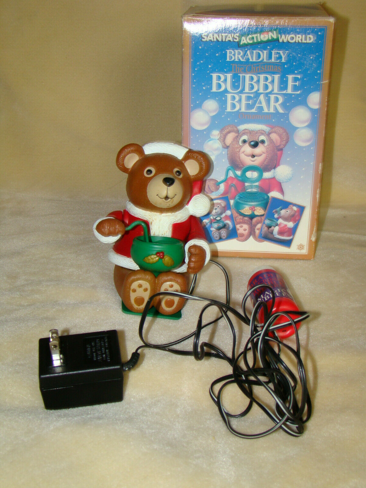 Primary image for BRADLEY CHRISTMAS BUBBLE Blowing BEAR Ornament Santa's Action World Kurt Adler