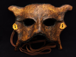 Handmade Paper Mache Masquerade Mask - Steampunk Rusted Leather - Mens W... - $52.70 CAD