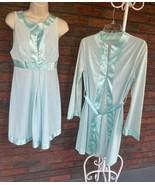 Blue Vintage Set Small Gossard Artemis Sleeveless Gown Long Sleev Robe Satin Edg - $73.50