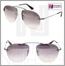 PRADA TEDDY PR58OS Aviator Lilac Gunmetal Silver Mirrored Rimless Sungla... - $227.70