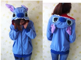 Disney Kigurumi Lilo & Stitch blue Angel hoodie cosplay coat jacket New - $20.99