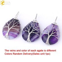 CSJA Gold Color Tree of Life Wire Wrap Water Drop Necklace & Pendant Rei... - $9.76