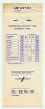 Southern Airways Washington & New York Time Table Southern Style 1968 - $21.83