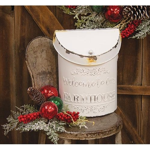 MAILBOX FARMHOUSE VINTAGE ~WELCOME TO OUR FARMHOUSE ~ WHITE POST BOX  - $46.95