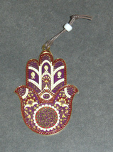 Judaica Kabbalah Hamsa Gold Plated Red Purple Enamel Wall Hang Evil Eye Hai image 3