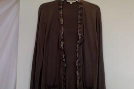 Ann Taylor Loft WomensXL Wool Blnd Cardigan Sweater Ruffle Open Front Po... - $13.85