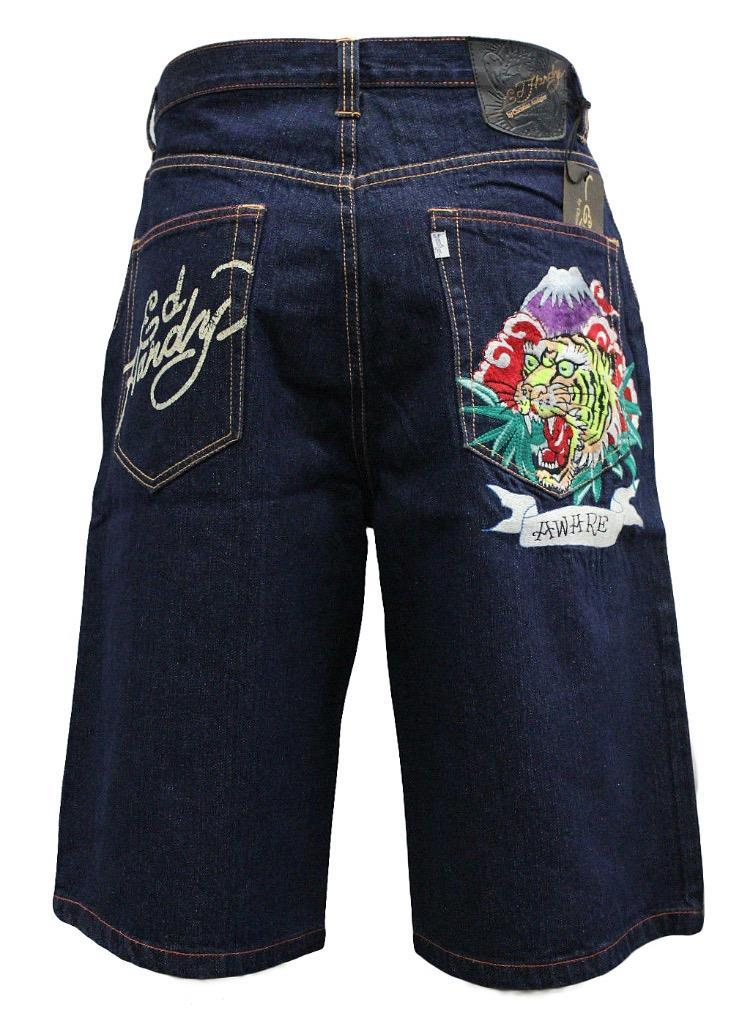 NEW ED HARDY CHRISTIAN AUDIGIER MEN'S PREMIUM DENIM TIGER SHORTS ALIVE AND AWARE