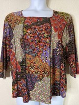 North Style Womens Plus Size 1X Colorful Floral Paisley Blouse 3/4 Sleeve - $15.84