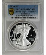 2020-W $1 Silver Eagle v75 Privy First Strike, PCGS PR69DCAM Silver Coin - £285.66 GBP