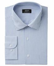 NEW ALFANI PERFORMANCE WHITE BLUE CHECK CHEST POCKET DRESS SHIRT L 16-16... - $18.80