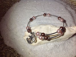 Lovely! Handmade *Pink/Brown* Pearl Bead Silver Wire Wrap Bracelet Bangle - $11.95