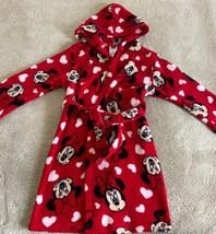 Disney Minnie Mouse Girls Red White Hearts Fleece Hooded Long Sleeve Bat... - $15.97