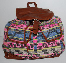 Mudd Backpack Multi-Color Embroidered Boho Print Brown Faux Leather BTS Bag - $29.65