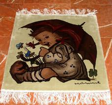 M.I. Hummel Silk Carpet Rug Umbrella Girl Hand knotted 6/50 Limited Ed 2... - $119.90