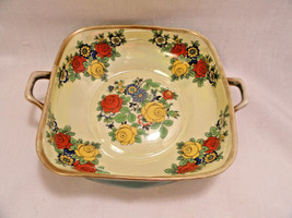Green RS Prussia Germany Green Floral Bowl Gold Trim - $19.99