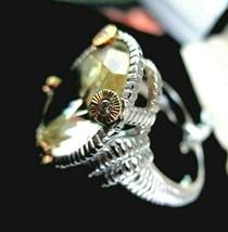 Judith Ripka Canary Crystal 18K w/Diamonds Sterling Silver Ring Size 6 G... - $239.95