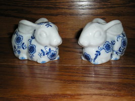 Set Of 2 Vintage Andrea By Sadek Hand Painted Ceramic Bunny Candle Holders - £15.42 GBP