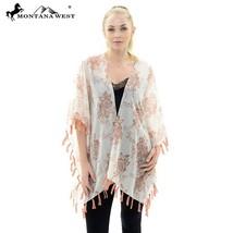 new Montana West KIMONO coverup white with pink/peach floral print & tas... - $39.99
