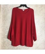 J. Jill Size PL Petite Large Red Kimono Sweater Cashmere Blend Womens - $33.32