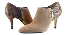 Michael Kors Clara Mid Bootie DK Dune Brown Suede Croc Leather Heel NIB ... - $77.23
